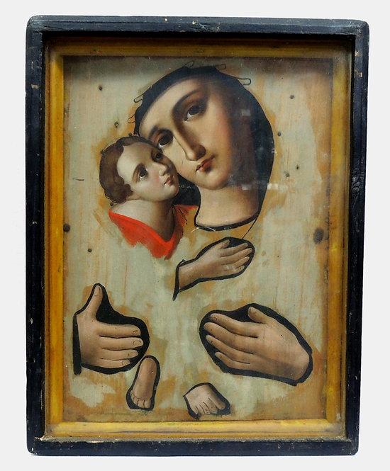 Икона Владимирская Богоматерь ( подокладница ); конец 19 века