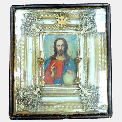 Икона Господь Вседержитель, Иисус Христос, оклад простой,в киоте