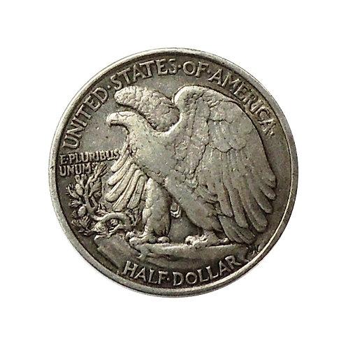 50 центов США 1943 г. W; Либерти-идущая Свобода, серебро 900 пробы