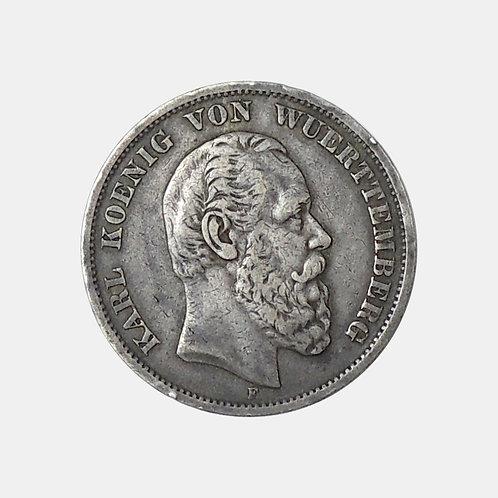 5 марок 1875 года Вюртемберг. Очень хорошее состояние. Красивая патина.