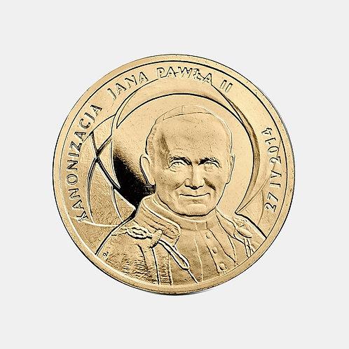 Польша 2 злотых 2014 года. Канонизация Иоанна Павла II - 27 апреля 2014 г.