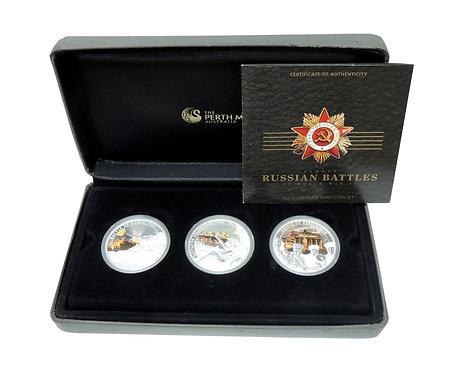 Набор из 3-х серебрянных 1$ монет 2010 г. Республика Тувалу