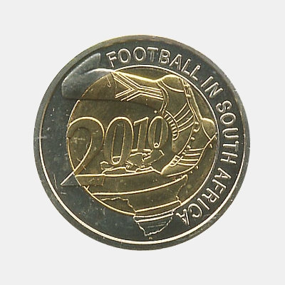 Сувенирный биметаллический жетон Футбол в Южной Африке ( 2010 год )