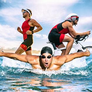 Triathlon swim bike run triathlete man t