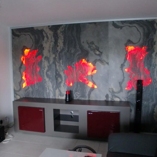 Wohnwand mit Translucent Rustique