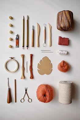 craft materials flatlay_orange craft materials flatlay