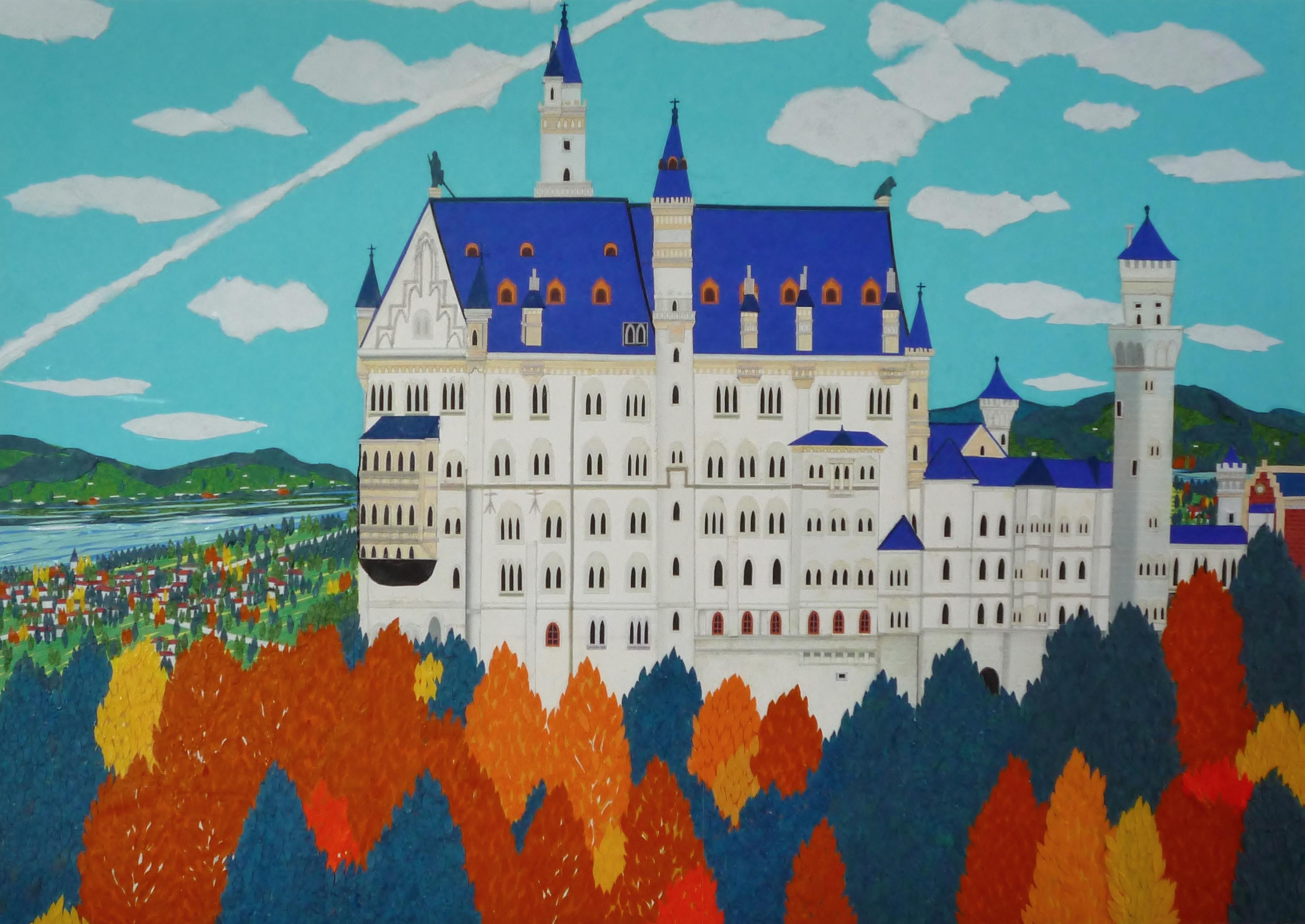 紅葉のノイシュバンシュタイン城