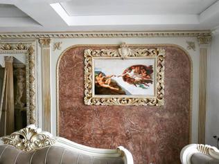Декоративное оформление рамы из гипса под золото