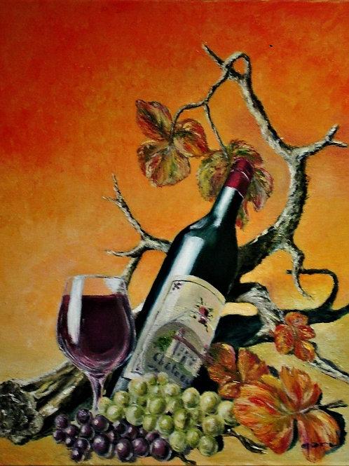 Bouteille-et-cep-de-vigne-Patrice-Bru-peintre-figuratif