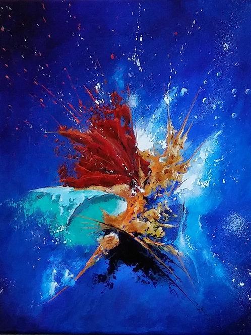 HYLQUE tableau bleu peinture abstraite acrylique