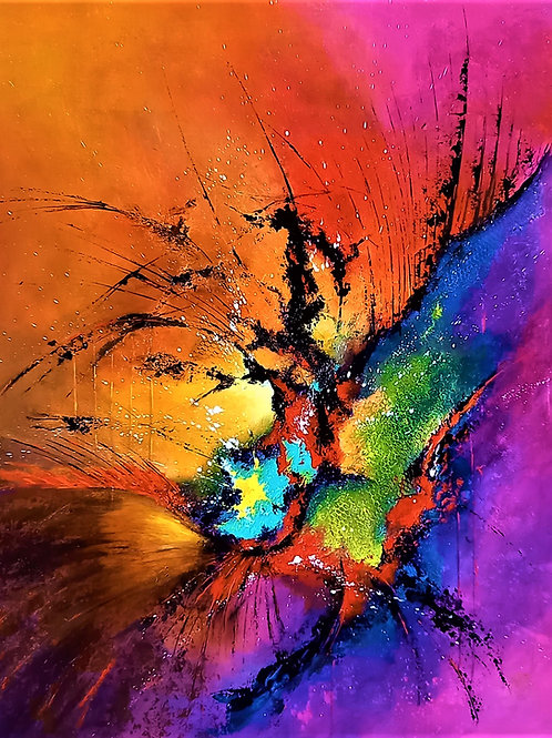 peinture abstraite acrylique Exubérance patrice bru peintre32.com