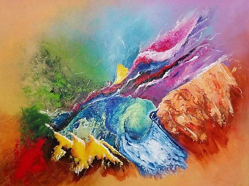 LINGBY Tableau en peinture abstraite acrylique-art abstrait contemporain