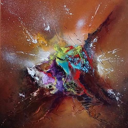 WIRRING tableau marron art abstrait contemporain