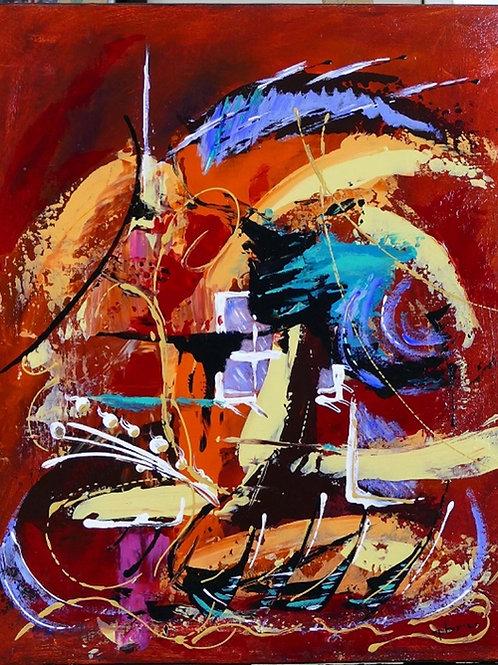 tableau en peinture abstraite acrylique  rouge avec projections multicolores  patrice bru artiste peintre contemporain
