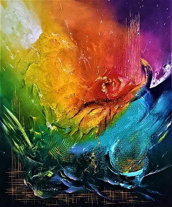 herskind,acrylique,empâtements rouge,bleu,jaune,vert
