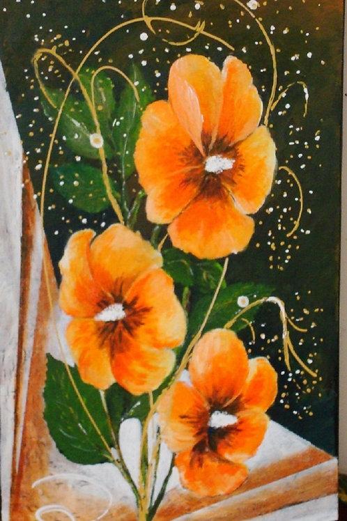 Hibiscus-oranges-Patrice-Bru-artiste-peintre-figuratif
