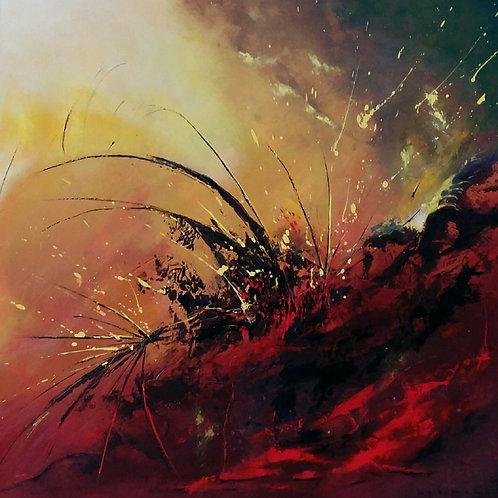 ERUPTION tableau rouge et jaune art abstrait contemporain
