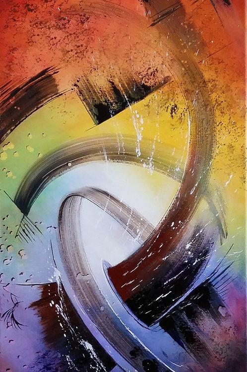 ABYHOJ tableau vertical art abstrait contemporain