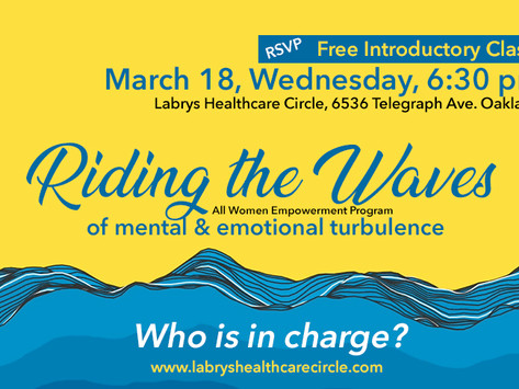"""3/18 Wed   """"Anxiety & Depression"""" - Free & Virtual Intro Class"""