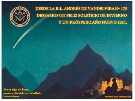 La R.L. Andrés de Vandelvira os desea un Feliz Solsticio.