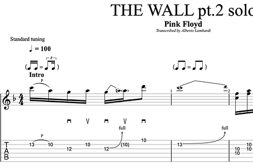 THE WALL pt. 2 solo (Pink Floyd)    TAB + score