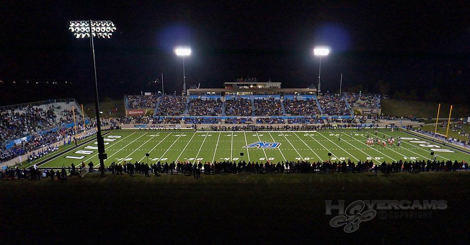 Aerial photo GVSU football game Grand Valley State University Hovercams