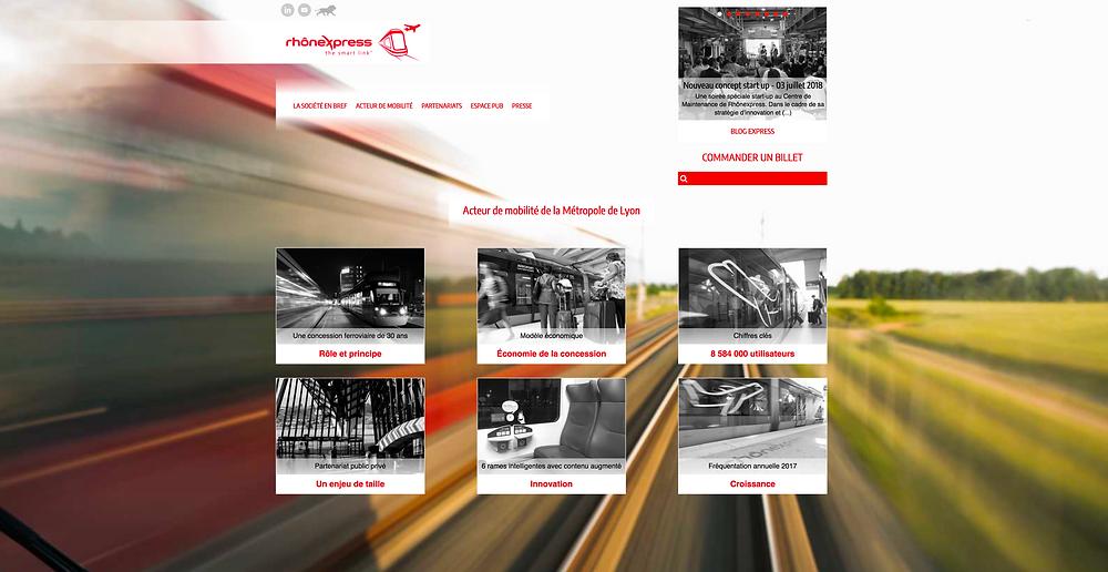 HP du site concessionnaire Rhônexpress