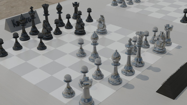 An animation done in blender of the final chess match between kasparov and the deep blue AI