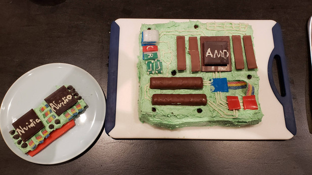 A cake I made to look like a motherboard