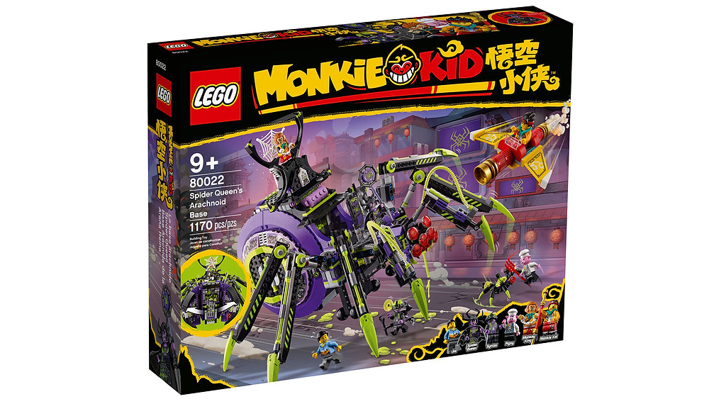 Children can create unlimited exciting adventures with this awesome LEGO® Monkie Kid™ mech toy: Spider Queen's Arachnoid Base (80022). The posable mech has lever-operated attack pincers and opens to reveal a minifigure prison and the Spider Queen's lab for building robotic spiders. A hot gift toy for trend-setting kids, this unique playset features 6 minifigures, including Monkey King and Monkie Kid with The Golden Staff, which converts into a flyer for battle action.