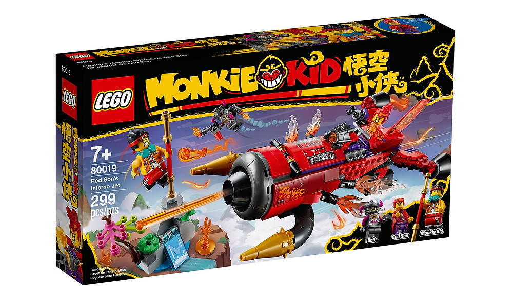 Spark children's creativity with this action-packed LEGO® Monkie Kid™ toy playset (80019), featuring Red Son's Inferno Jet, a Flower Fruit Mountain mini build and The Golden Staff. The jet features a minifigure cockpit and 2 spring-loaded shooters. A super gift idea for kids, this set also includes Monkie Kid, Red Son and Bob minifigures with weapons and accessory elements such as Red Son's Power Glove and a LEGO toy jetpack to inspire fun, imaginative play.
