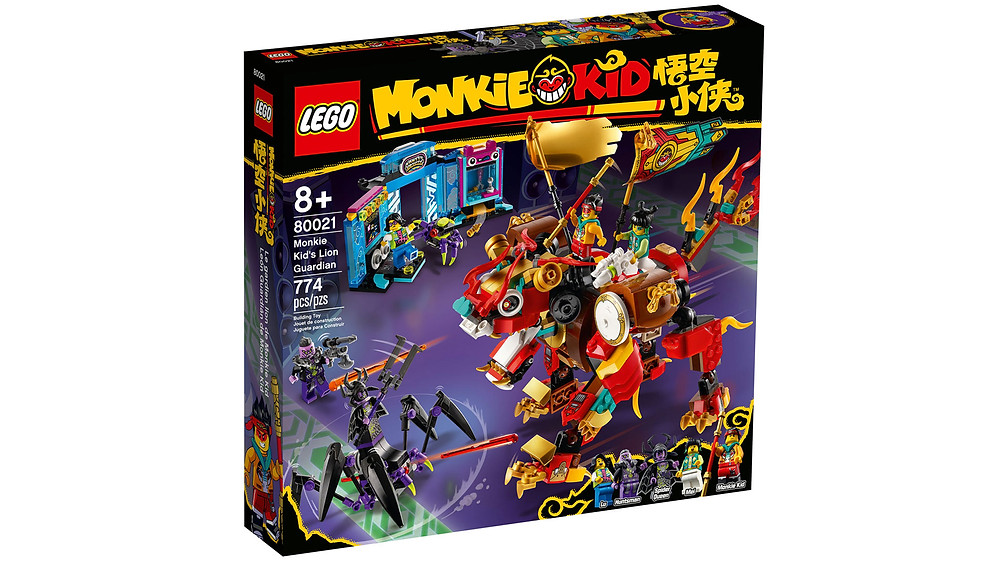 Youngsters will love showing off this action-packed LEGO® Monkie Kid™ Lion Guardian playset (80021) to their friends. It features a fully posable Lion Guardian mech toy with 2 hidden spring-loaded shooters, the Spider Queen's battle rig with movable legs and 2 spring-loaded shooters, plus a posable robotic spider. A great gift for trend-setting kids, this set also includes a buildable arcade with a toy-grabbing claw game that dispenses toy elements, plus 5 minifigures with cool weapons for role-play battles.