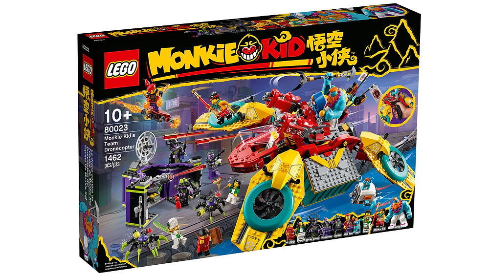 Children can become heroes in their own epic stories and wow their friends with Monkie Kid's Team Dronecopter. This LEGO® Monkie Kid™ helicopter toy (80023) features 2 spring-loaded shooters and 2 detachable 'cargo containers' with lots of homely features inside, including bunk beds and a buildable arcade machine. The playset includes 8 minifigures and 2 figures, including Monkie Kid, Mei, Sandy, Mo the cat, Spider Queen, Mr. Tang with a Journey to the West book element and Red Son with a flyer, plus a spring-loaded 'spider poison' shooter for battle action.