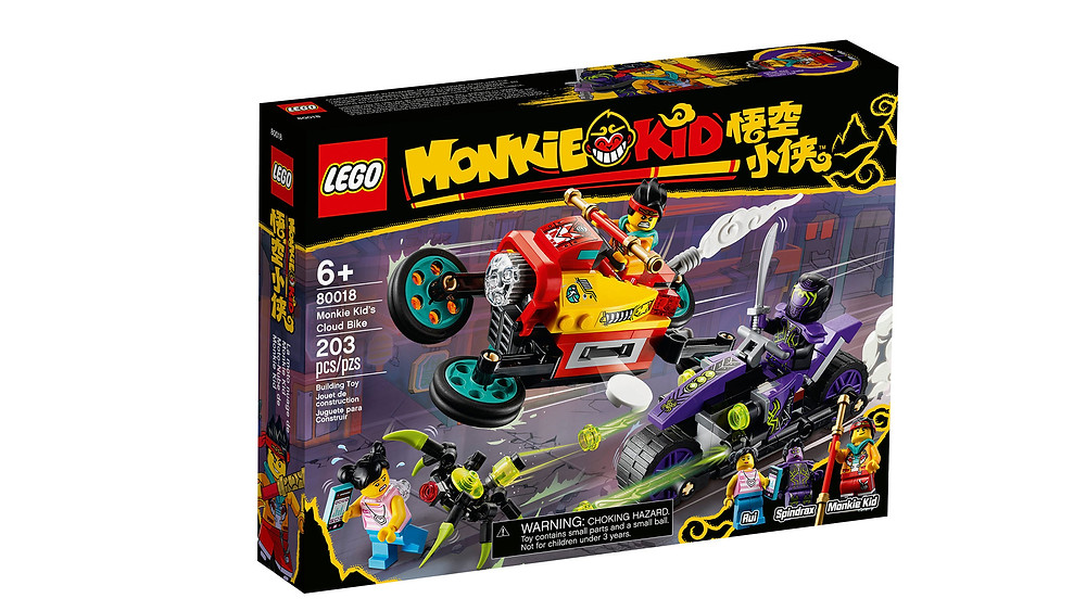 Children will love role-playing as the heroic Monkie Kid trying to save a civilian from Spindrax with this LEGO® Monkie Kid™ motorcycle toy playset (80018). It features a Cloud Bike with transforming wheels for flight mode and 2 hidden disc shooters, Spindrax's bike with 2 stud shooters, plus a posable robotic spider toy. Easily portable and perfect for action-packed, everyday play sessions, the set includes 3 minifigures, with weapons including The Golden Staff, to inspire storytelling.