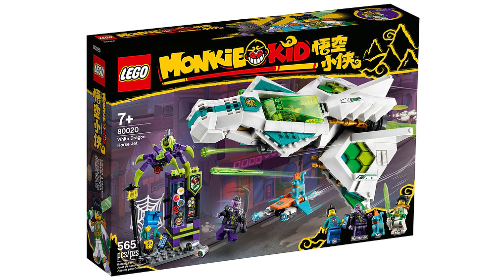 Give your little hero a fun, rewarding building experience and hours of creative play with this exciting LEGO® Monkie Kid™ jet plane playset (80020). A top-quality gift toy for children, it features Mei's White Dragon Horse Jet, with 2 spring-loaded shooters and 2 stud shooters, a buildable, working vending machine, posable robotic spider, spider trap and stud-shooting hoverboard. Children can role-play as Mei and Mo the cat battling to save a civilian from the Spider Queen's Huntsman, with 3 minifigures and a LEGO figure.