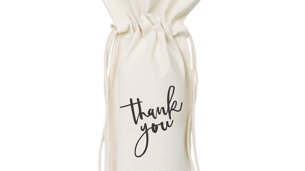 Thank You Cotton Canvas Wine Bag