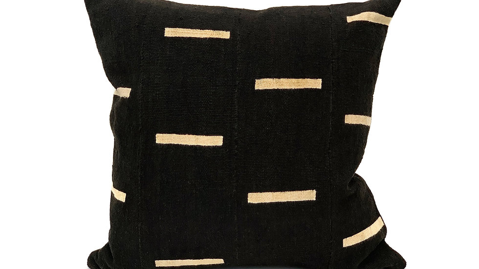 Mudcloth White Lines on Black Pillow Cover