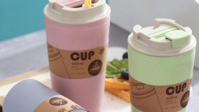420ml Bamboo Charcoal Fiber Eco Friendly Wheat Straw Travel Coffee Cup