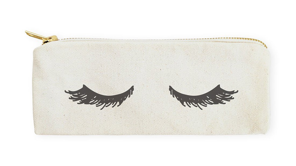 Closed Eyelashes Cotton Canvas Pencil Case and Travel Pouch