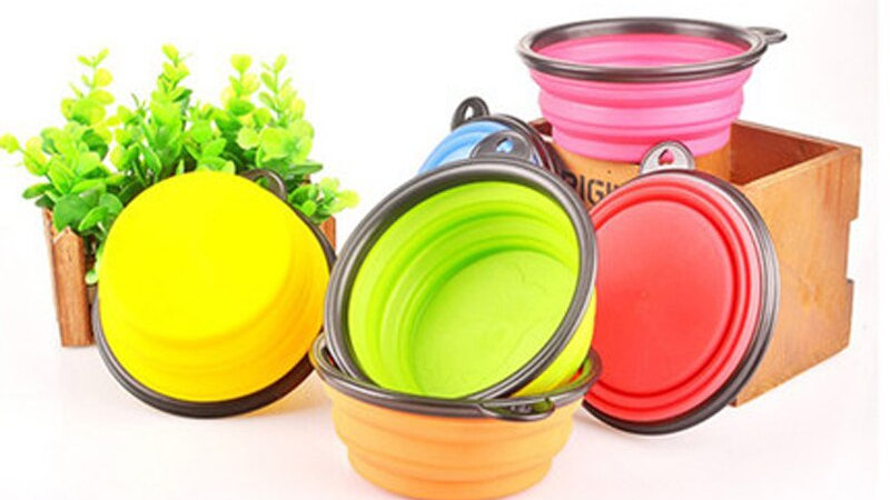 Folding Food Grade Silicone Dog Bowl Outfit
