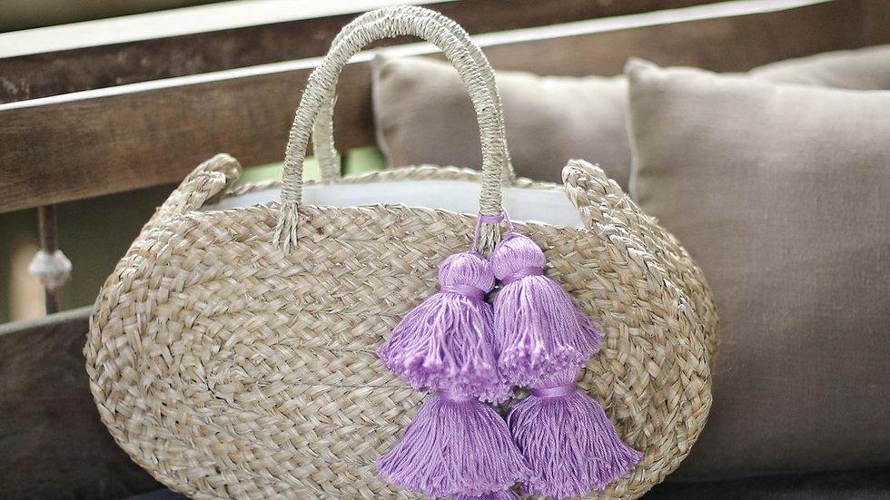 Oval Luna Straw Tote Bag - with Lavender Purple Tassels