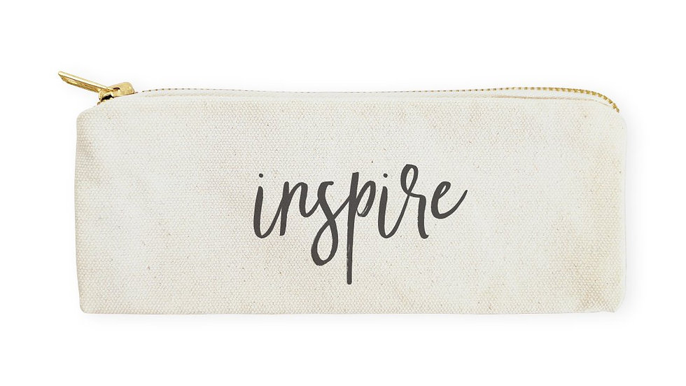 Inspire Cotton Canvas Pencil Case and Travel Pouch