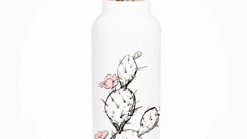 Prickly Pear- White Stainless Steel Insulated Water Bottle