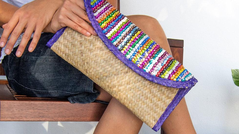 Eco-friendly Clutch Bag with Sequin Stripes, Purple Trim