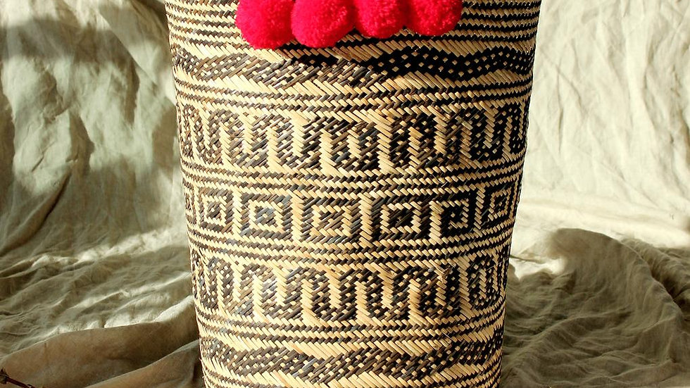 Borneo Tribal Drum Basket - with Red Hot Pom-poms