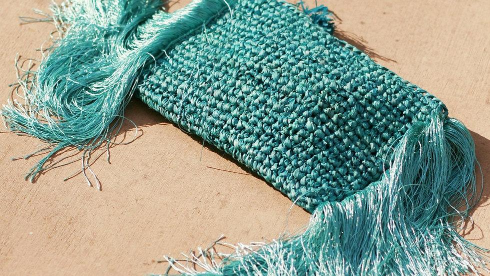 Canggu Fringe Raffia Straw Clutch, in Turquoise