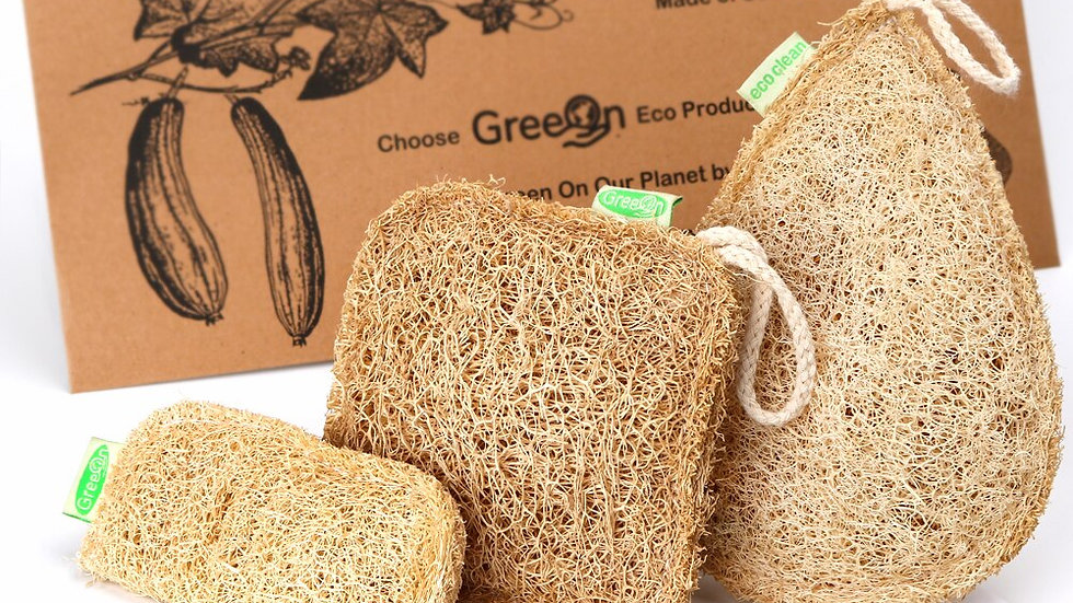 Eco Kitchen Sponge. Pure Handmade Multilayer Natural Loofah Scrubber.