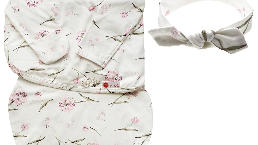 Headband and Long Sleeves Swaddle Bundle (Clustered Flowers)