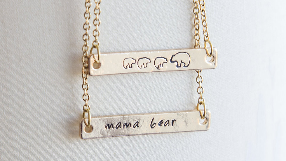 Mama bear necklace, mama and bear cub necklace, hand stamped bar