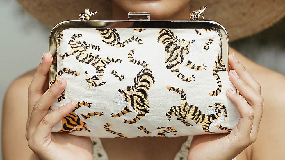 Sumatran Tiger Clutch, Ivory White